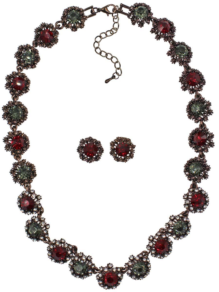 цена на Набор бижутерии женский Taya: серьги, колье, цвет: коричневый, красный. T-B-10854-SET-BR.RED