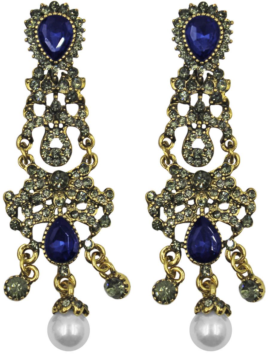 Серьги Taya, цвет: золото, темно-синий. T-B-11272-EARR-GL.D.BLUE