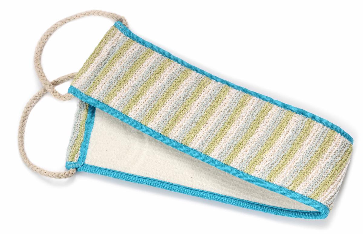 цена на Silva Мочалка для спины, хлопок- сизаль, цвет: бежевый с синей голубой