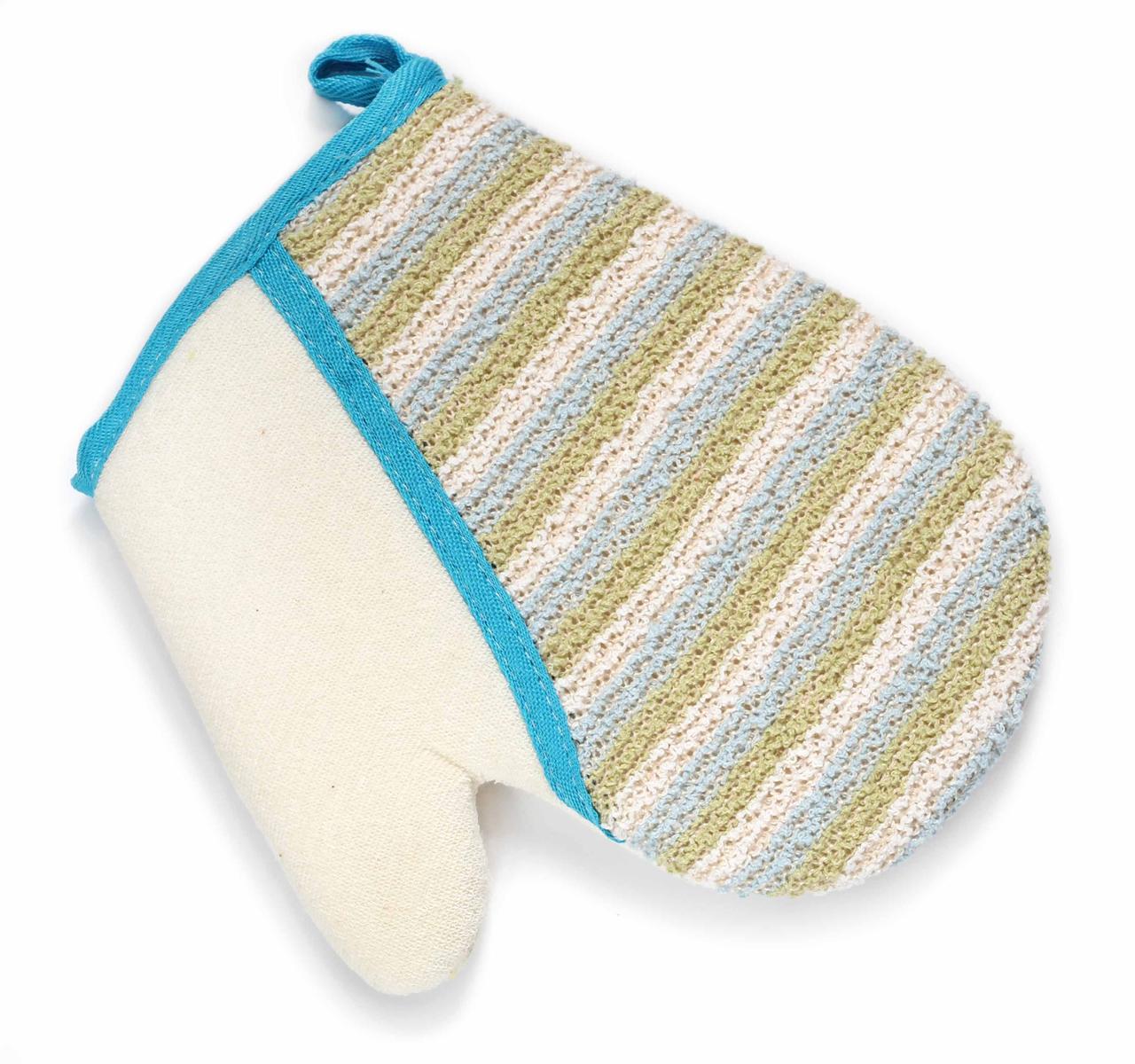 цена на Silva Мочалка-рукавица, хлопок-сизаль, цвет: бежевый с синей голубой