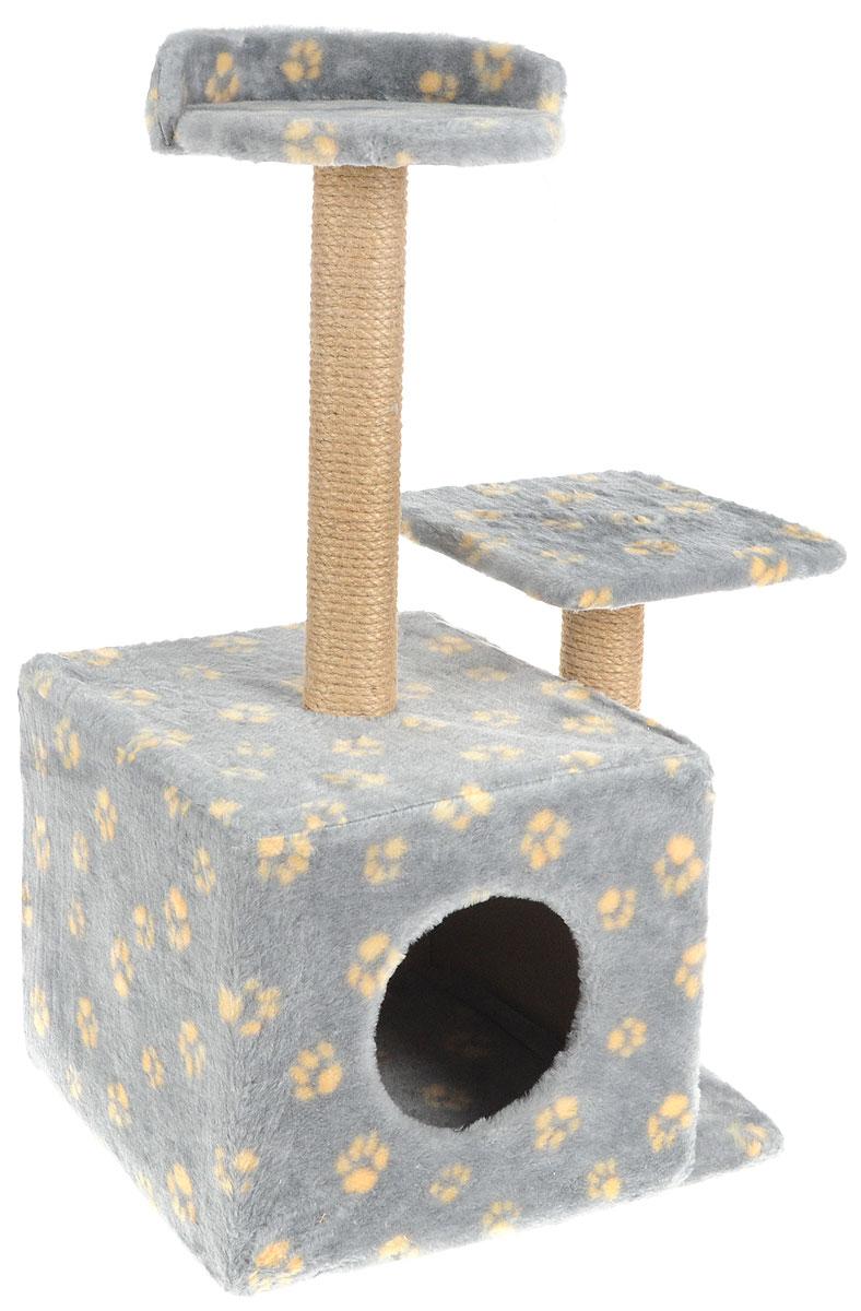 Меридиан, Домик-когтеточка Квадратный трехэтажный, рис. Лапки (серый фон, желтый рисунок), 35 х 45 х 75 см лежак для кошек меридиан ботинок 61 х 38 х 33 см