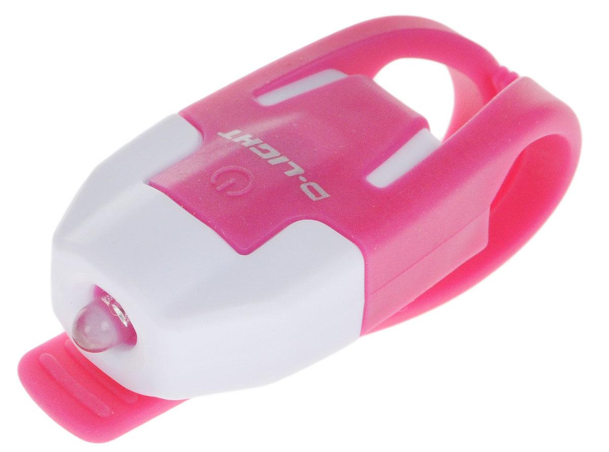 Фонарь велосипедный D-Light CG-210R, габаритный, задний, цвет: розовый, белый