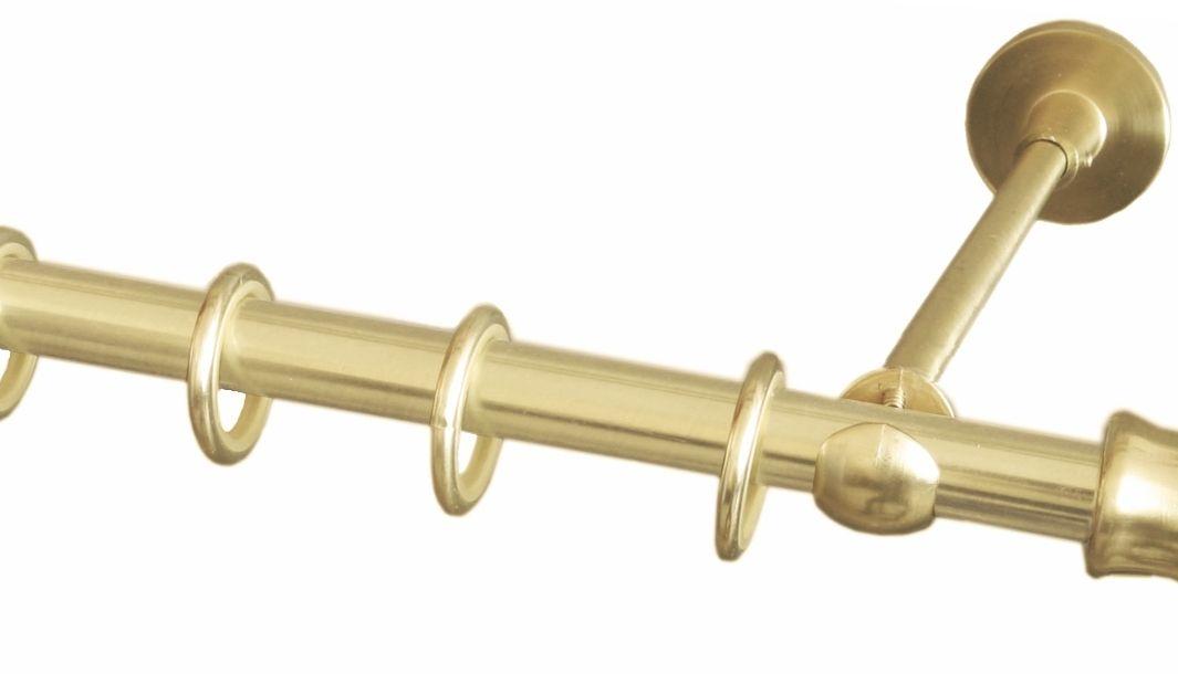 """Карниз однорядный Уют """"Ост"""", металлический, составной, цвет: латунь, диаметр 25 мм, длина 280 см"""