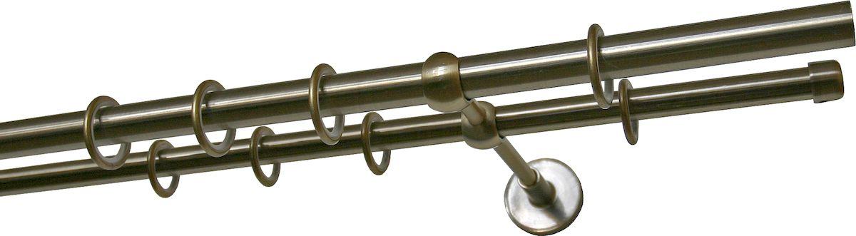 Карниз двухрядный Уют Ост, металлический, цвет: бронза, диаметр 25 мм, длина 1,4 м26.02ТО.651К.140Двухрядный круглый карниз Уют Ост выполнен из цинко- алюминиевого сплава с гальваническим покрытием. Подходит для использования двух видов занавесей. Поверхность гладкая. Способ крепления настенное. В комплект входят 2 штанги, 2 кронштейна с крепежом и 28 колец с крючками. Наконечники приобретаются дополнительно. Такой карниз будет органично смотреться в любом интерьере. Диаметр карниза: 25 мм.