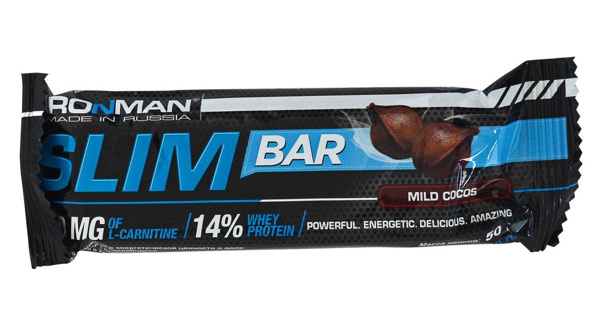 Батончик энергетический Ironman Slim Bar, с L-карнитином, кокос, темная глазурь, 50 г