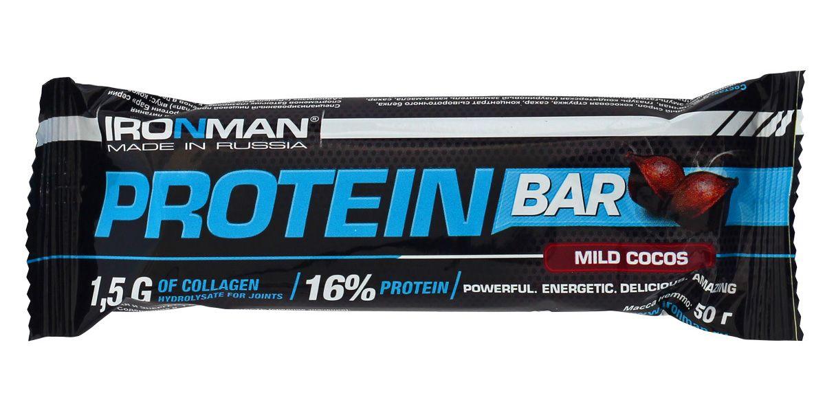 Батончик энергетический Ironman Protein Bar, с коллагеном, кокос, темная глазурь, 50 г протеиновый батончик vp laboratory low carb protein bar темный шоколад кокос 35 г
