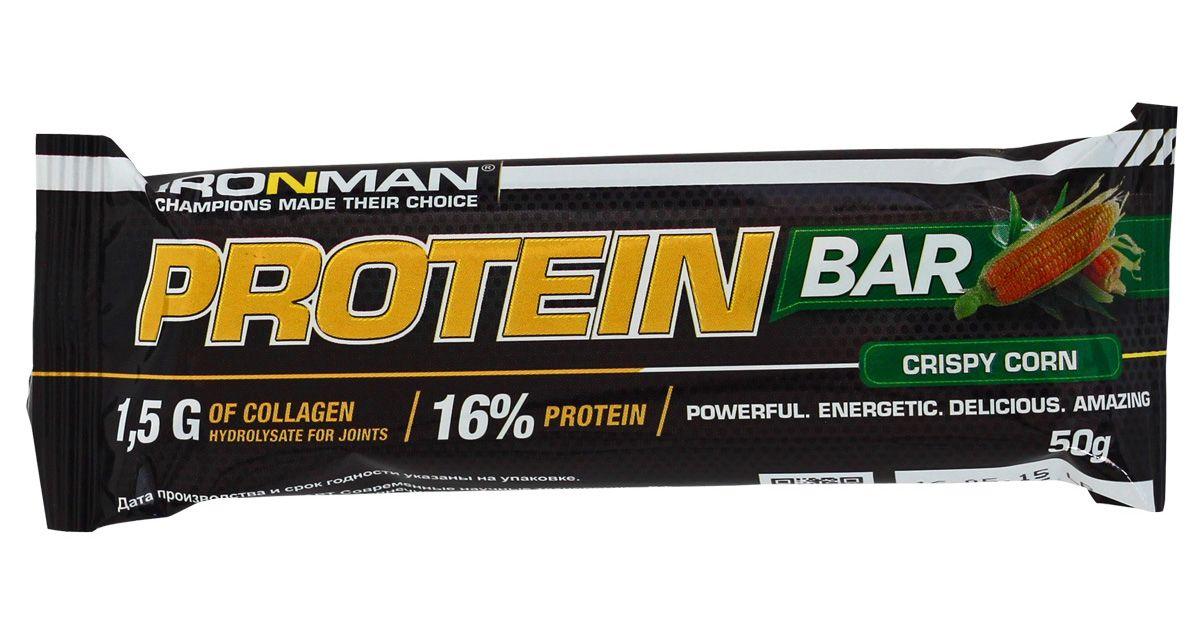 Фото - Батончик энергетический Ironman Protein Bar, с коллагеном, кукуруза, белая глазурь, 50 г батончик протеиновый ironman protein bar с коллагеном карамель темная глазурь 50 г 6 шт