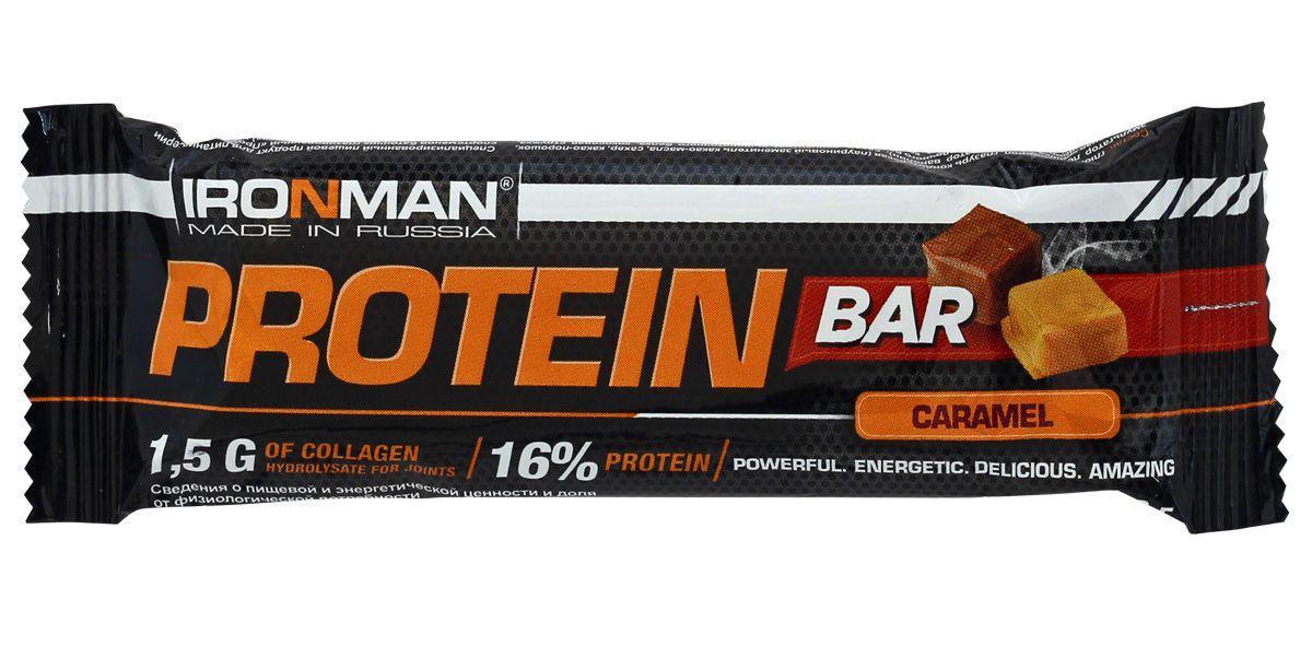 Батончик энергетический Ironman Protein Bar, с коллагеном, карамель, темная глазурь, 50 г цена