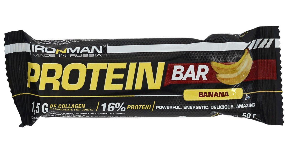 Фото - Батончик энергетический Ironman Protein Bar, с коллагеном, банан, темная глазурь, 50 г батончик протеиновый ironman protein bar с коллагеном карамель темная глазурь 50 г 6 шт
