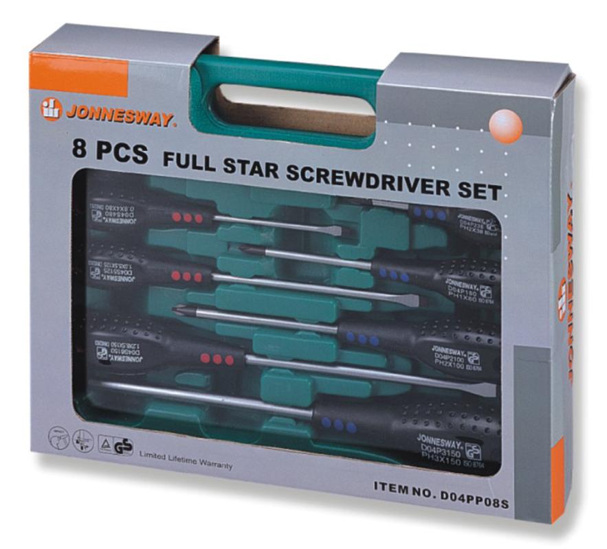 """Набор шлицевых и крестовых отверток Jonnesway """"FULL STAR"""", 8 предметов"""