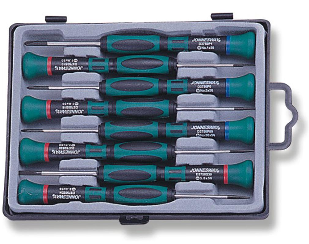 Набор отверток для точной механики Jonnesway 50 мм шлиц 1.0-3.0 и крест PH#0.00-1, 8 предметов цена