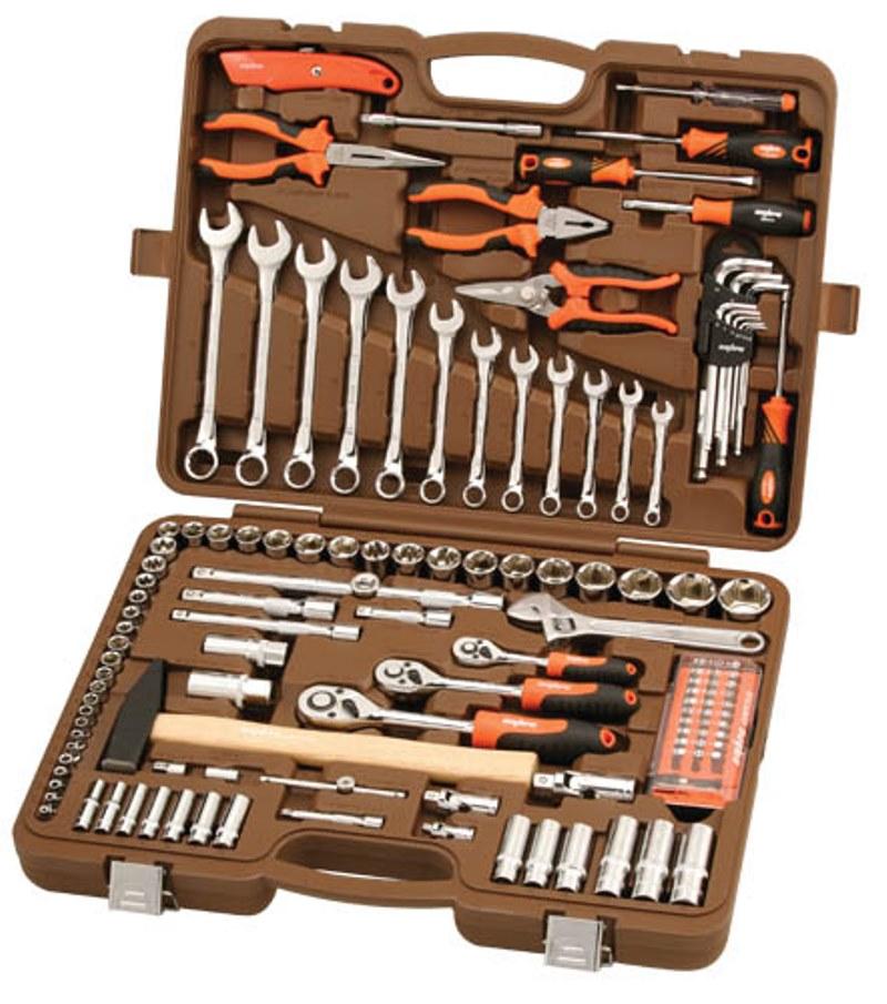 Универсальный набор инструмента Ombra торцевые головки 1/4, 3/8, 1/2DR 4-32 мм, E4-Е24, аксессуары к ним, комбинированные ключи 8-19 мм, 131 предмет набор инструментов ombra omt131s 131 предмет