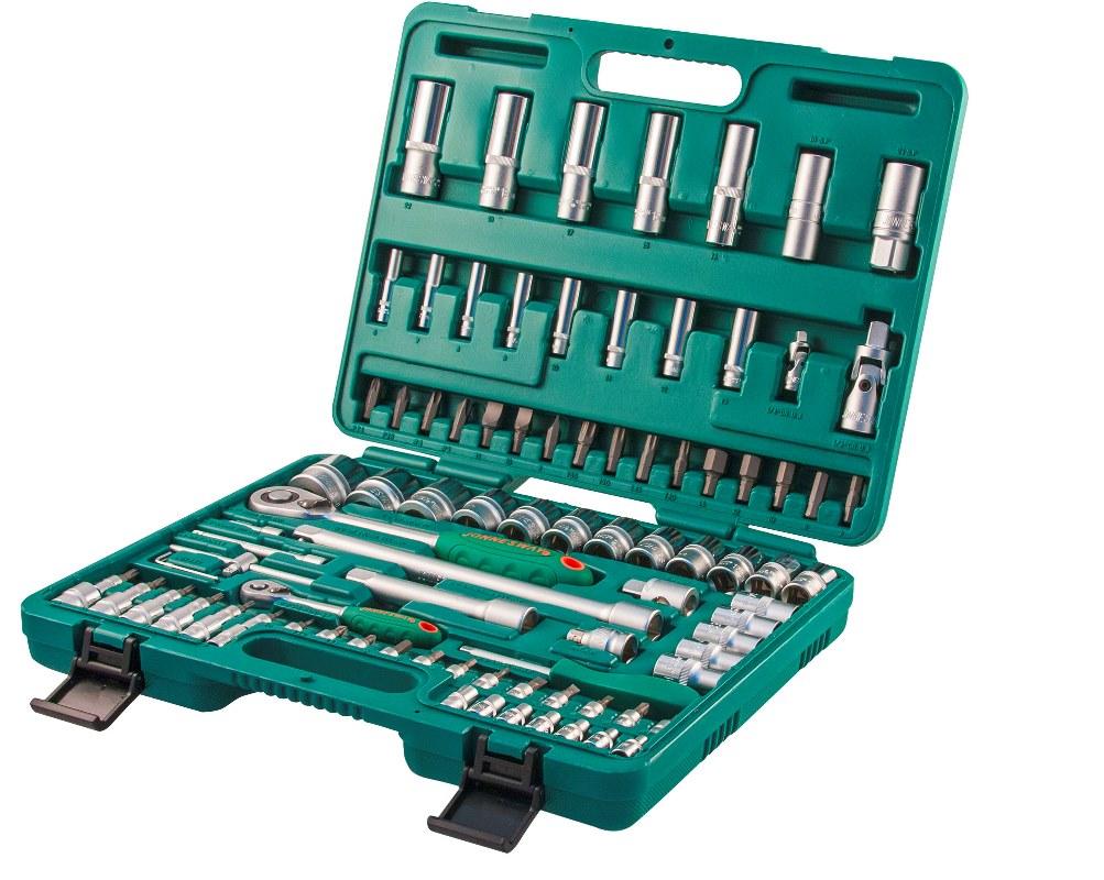Набор торцевых головок Jonnesway 1/4DR 4-14 мм и 1/2DR 10-32 мм, 94 предмета набор головок с трещоткой hammer flex 601 055 1 4 5 5 5 6 7 8 9 10 11 12 13 мм 11 шт