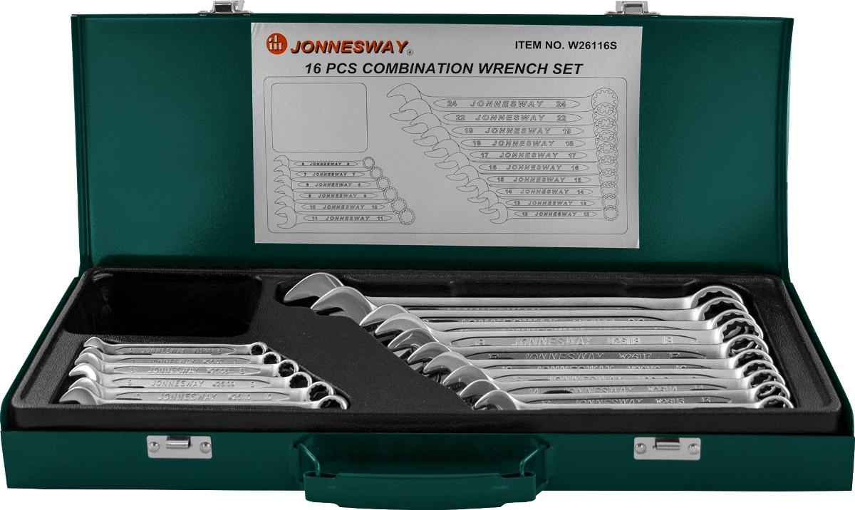 Набор комбинированных ключей Jonnesway, 16 предметов набор комбинированных трещоточных ключей jonnesway w45107s 10 19мм 7 предметов