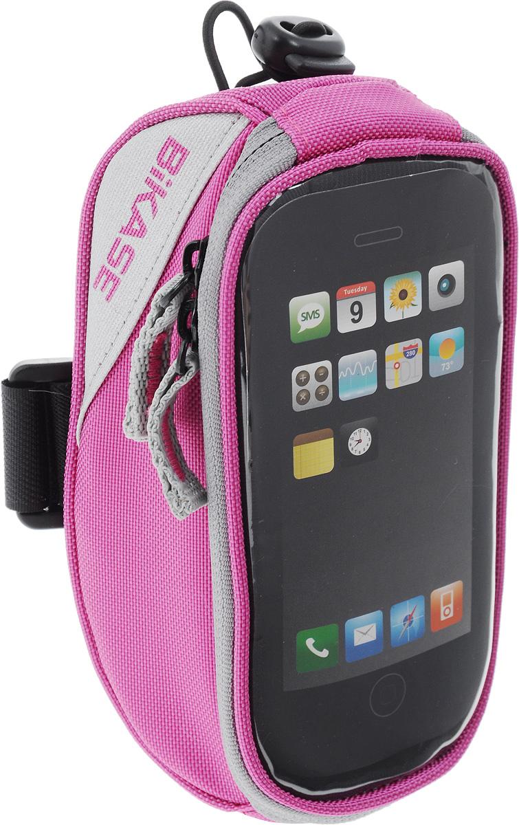 Сумка на верхнюю часть рамы BiKase Beetle, с чехлом для смартфона, цвет: розовый, серый, 17 х 9 х 7 см