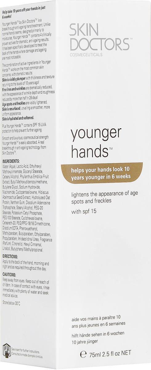 """Крем для ухода за кожей Skin Doctors 22792279Крем """"Younger Hands"""" помогает коже ваших рук выглядеть моложе на 10 лет. Повышает упругость кожи, увеличивает ее плотность и улучшает текстуру. Предотвращает появление заломов и морщин. Борется с излишней пигментацией, возрастными пятнами и веснушками. Помогает восстановить и поддерживать равномерный цвет кожи. Глубоко увлажняет и предотвращает обезвоживание кожи рук. Помогает защитить кожу от старения, делает ее гладкой и мягкой. Защищает кожу рук от ультрафиолетовых лучей (SPF 15). Основные действующие ингредиенты: Line Factor 10 - воспроизводит естественные защитные функции некоторых протеогликанов внеклеточного матрикса, улучшая биомеханические свойства кожи, способствуя обновлению клеток и росту числа фибробластов. Phyllanthus Emblica (Эмблика лекарственная) - известная как Эмблик или Индийский крыжовник, произрастает в тропиках Южной Азии. Способствует осветлению кожи и уменьшению пигментных пятен, придает коже однородный цвет и сияние, является мощным антиоксидантом. Защищая кожу от воздействия свободных радикалов, эмблика помогает ей выглядеть моложе. Uniprosyn PS18 - биоактивный комплекс, который ускоряет процесс ороговения ткани, стимулируя синтез протеинов. Увлажняет и устраняет сухость и шероховатость, способствует сокращению глубоких морщин. Молочная кислота - важный увлажняющий компонент. Поддерживая влагоудерживающую функцию рогового слоя кожи, помогает уменьшить количество морщин. Солнцезащитные фильтры (SPR 15) - защищают кожу от вреда, наносимого уль..."""