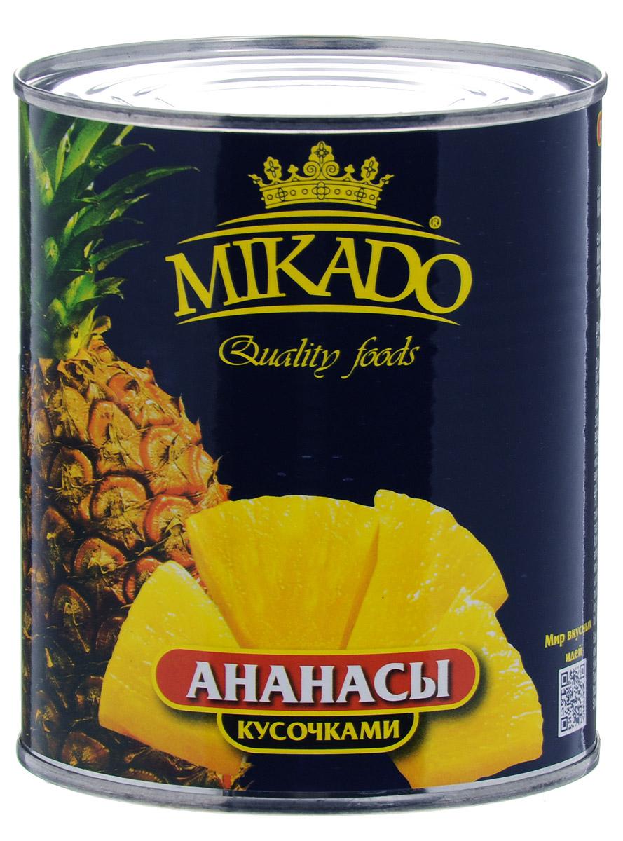 Mikado ананасы кусочками в сиропе, 850 мл все цены