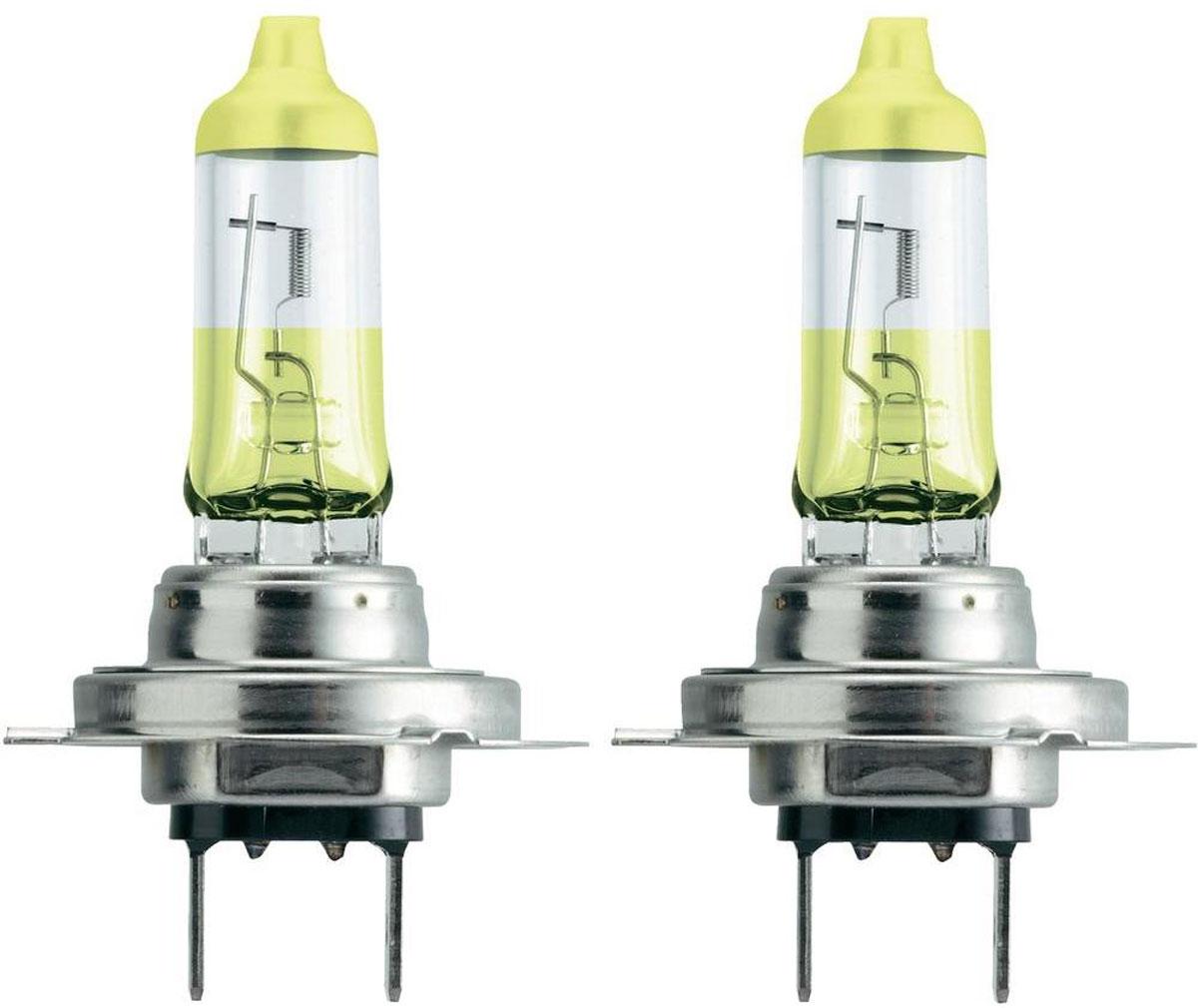 """Лампа автомобильная галогенная Philips """"ColorVision Yellow"""", для фар, цоколь H7 (PX26d), 12V, 55W, 2 шт"""