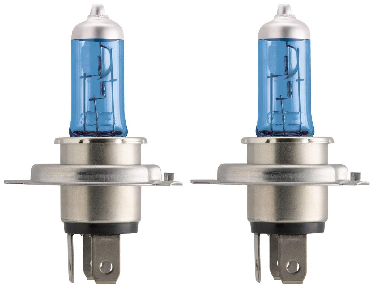 Лампа автомобильная галогенная Philips Crystal Vision, для фар, цоколь H4 (P43t), 12V, 60/55W, 2 шт + цоколь W5W, 12V, 5W, 2 шт лампа галогенная philips h7 3200k vision 30% 1 шт 12972prc1