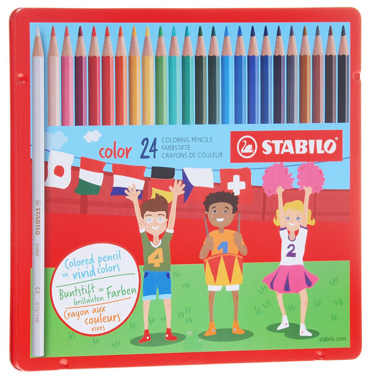 Stabilo Набор цветных карандашей Color в металлической коробке 24 шт
