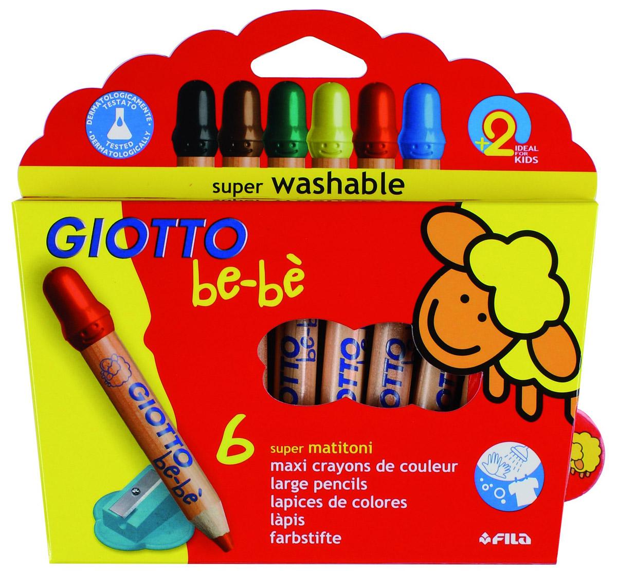 Giotto Набор цветных карандашей Bebe Super Largepencils c точилкой 6 шт