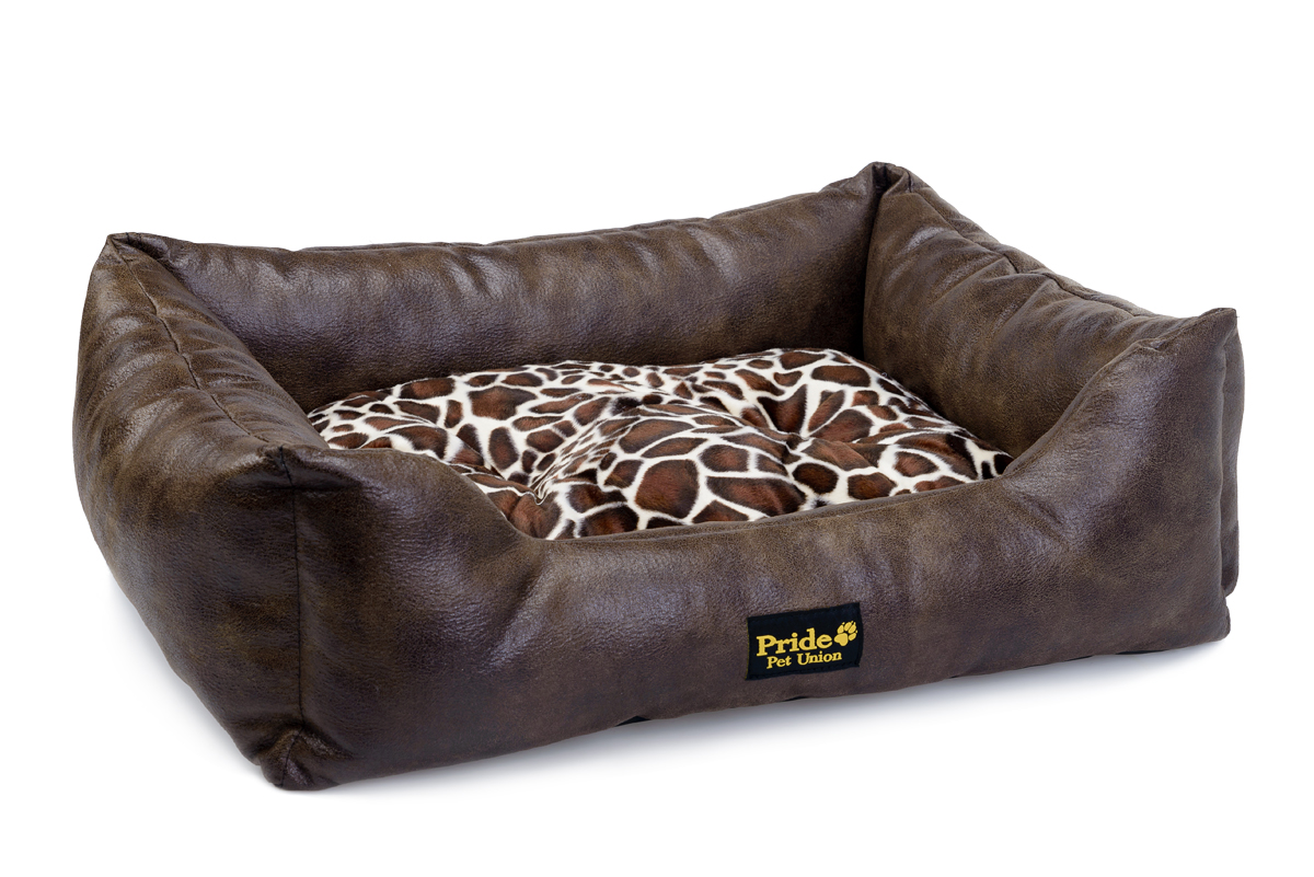 Лежак для животных Pride Президент, цвет: коричневый, 60 х 50 х 18 см лежак для животных pride британия 10012661 60 х 50 х 18 см