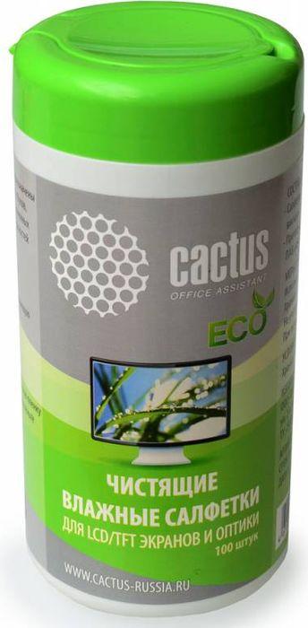 Cactus CS-T1001E салфетки для экранов и оптики, 100 шт чистящие салфетки cactus cs t1001 для экранов и оптики туба 100шт
