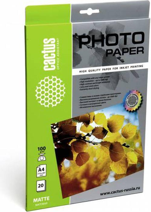Cactus CS-MA410020 A4/100г/м2 матовая фотобумага для струйной печати (20 листов) цена