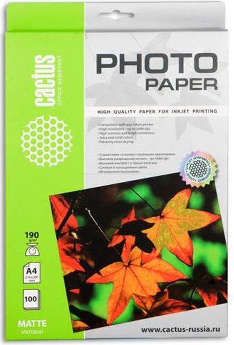 Cactus CS-MA4190100 A4/190г/м2 матовая фотобумага для струйной печати (100 листов) - Фотобумага