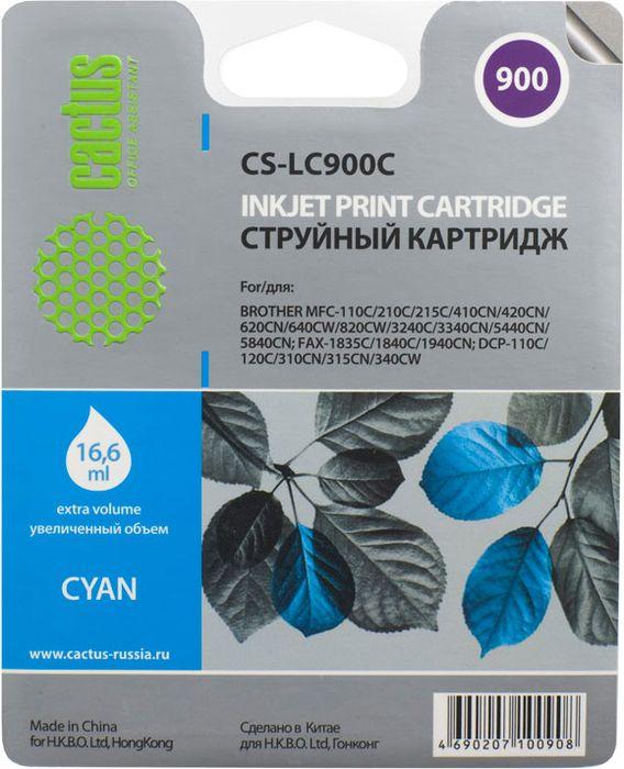 Cactus CS-LC900С, Cyan картридж струйный для Brother DCP-110/115/120/MFC-210/215/FAX-1840 цена