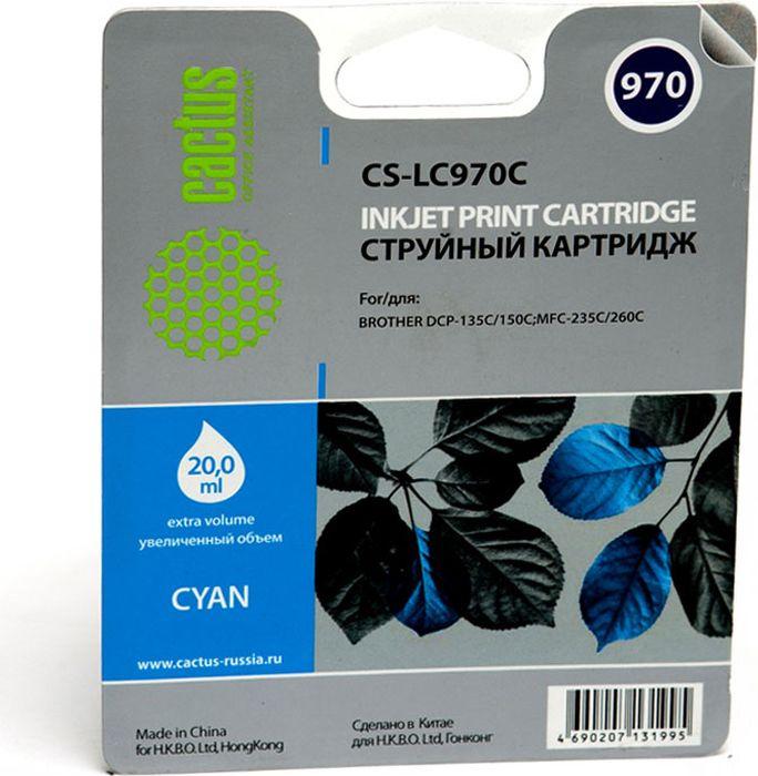 Cactus CS-LC970C, Cyan картридж струйный для Brother DCP-135C/150C/MFC-235C/260C original 960 printhead for brother dcp 1860c 1960c 2480c 2580c 3360c 130c 135c 150c 153c 157c 330c 350c 353c 357c print head