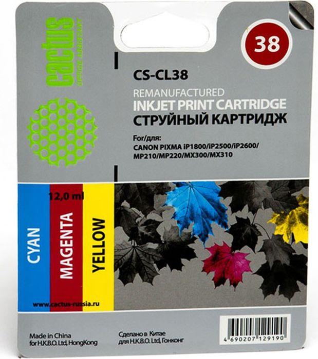 Cactus CS-CL38, Cyan Magenta Yellow картридж струйный для Canon Pixma iP1800/iP1900/iP2500/MP140/MP210/MP470/MX300 струйный картридж cactus cs cl38 для canon pixma ip1800 ip2500 ip2600 mp210 220 mx300 310