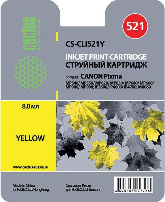 Картридж Cactus CS-CLI521Y, желтый, для струйного принтера картридж cactus cs cli521y желтый