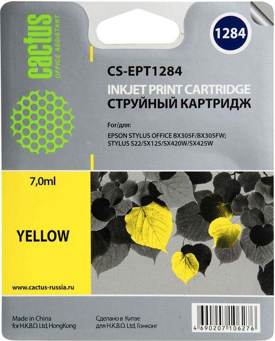 Картридж Cactus CS-EPT1284, желтый, для струйного принтера
