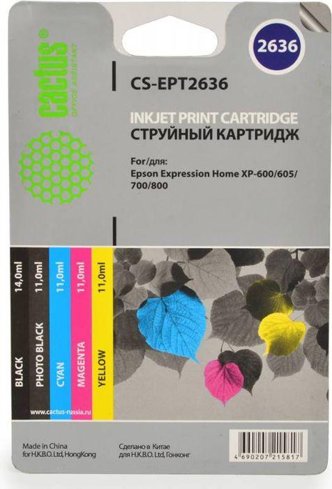Картридж Cactus CS-EPT2636, черный;голубой;пурпурный;желтый, для струйного принтера