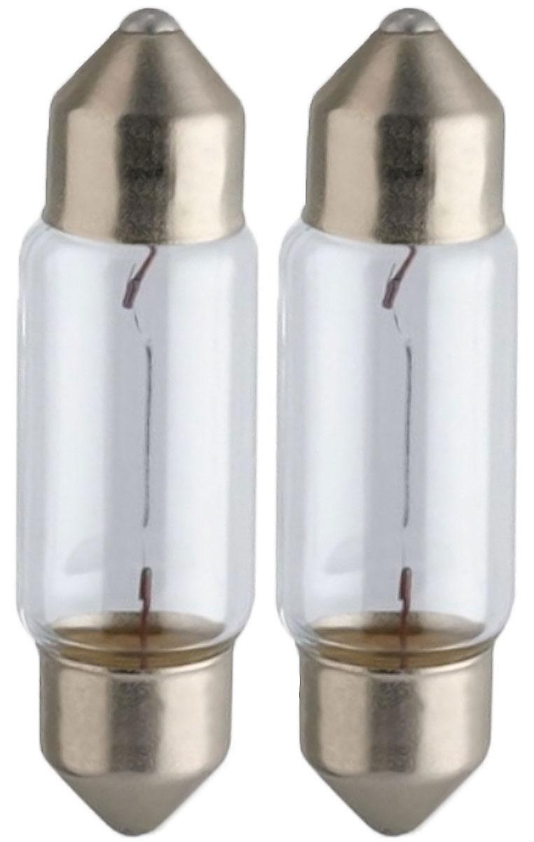 Лампа автомобильная Philips Vision, для салона, цоколь C5W (SV8,5-35/11), 12V, 5W, 2 шт лампа автомобильная philips 12821b2 бл