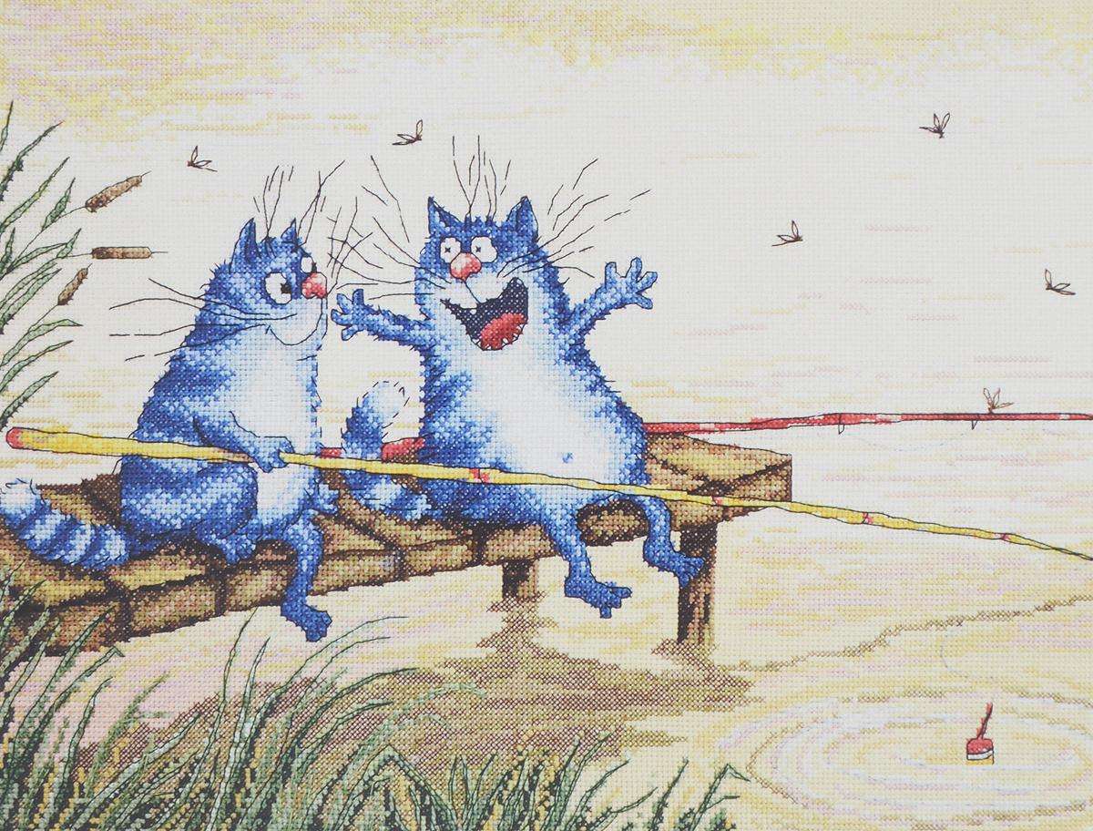 Картинки кот на рыбалке с удочкой