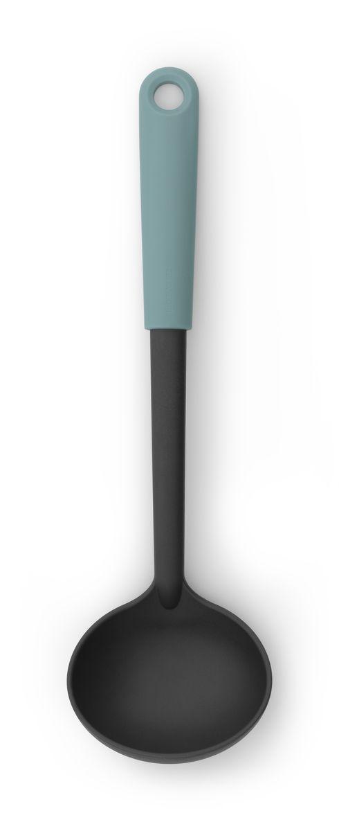 Ложка разливная Brabantia Tasty Colours, цвет: мятный. 106125106125Половник с длинной ручкой поможет аккуратно разлить суп по тарелкам. Имеет длительный срок службы – высококачественный огнеупорный нейлон (макс. 220°C). Не царапает посуду с антипригарным покрытием – эластичный пластик и сглаженные формы. Подходит для мытья в посудомоечной машине. Удобно хранить – петелька для подвешивания.