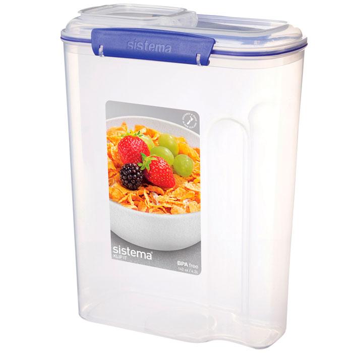 Контейнер пищевой Sistema 1450, Пластик1450Контейнер для хлопьев Klip It предназначен для хранения сыпучих продуктов. Крышка с силиконовой прокладкой герметично закрывается, что помогает дольше сохранить полезные свойства продуктов. Контейнер оснащен фиксирующимися зажимами – клипсами, которые при необходимости можно заменить. Можно мыть в посудомоечной машине.