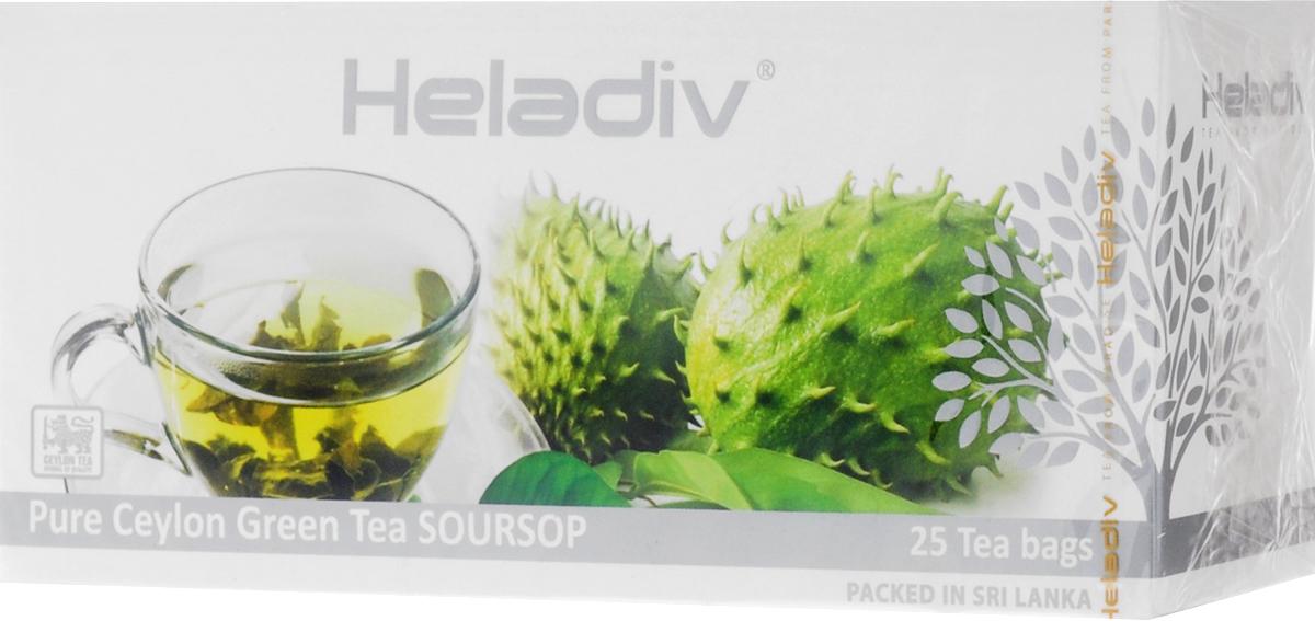 Heladiv Peko Soursop Green Tea чай зеленый в пакетиках с ароматом саусепа, 25 шт цена