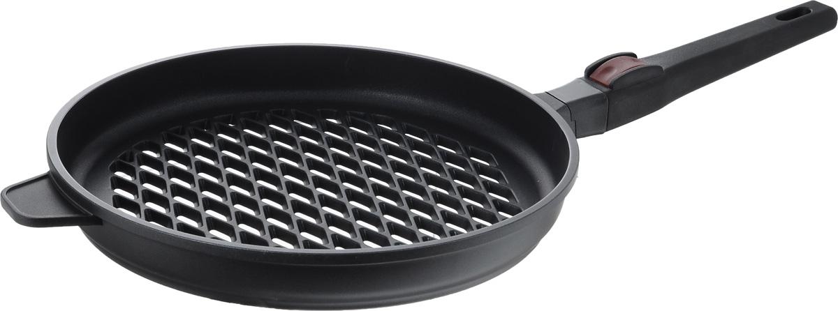 Сковорода-гриль Nadoba Griza, с антипригарным покрытием, со съемной ручкой. Диаметр 28 см728710Сковорода-гриль Nadoba Griza имеет корпус из литого алюминия, который нагревается равномерно и не деформируется. Надежное многослойное антипригарное покрытие Pfluon Cookmark устойчиво к истиранию и высокой температуре. Покрытие не содержит PFOA, кадмий и свинец, поэтому безопасно для здоровья. Перфорированное дно идеально для жарки на гриле с использованием углей и других нагревательных элементов. Удобная ненагревающаяся съемная ручка из бакелита позволяет экономить пространство на кухне. Можно мыть в посудомоечной машине. Высота стенки: 4 см. Длина ручки: 22 см.