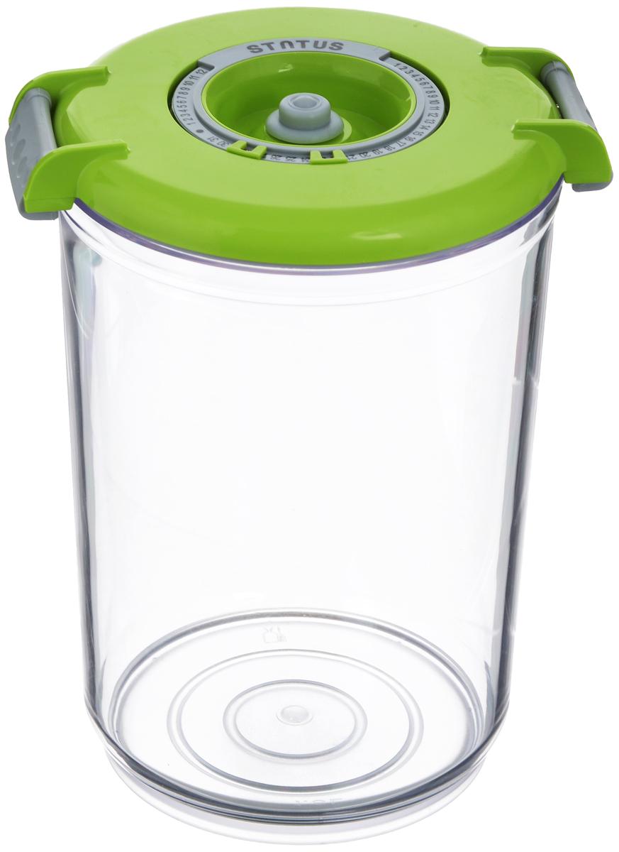 Фото - Контейнер вакуумный Status, с индикатором даты срока хранения, цвет: прозрачный, зеленый, 1,5 л контейнер вакуумный status цвет прозрачный зеленый 4 5 л
