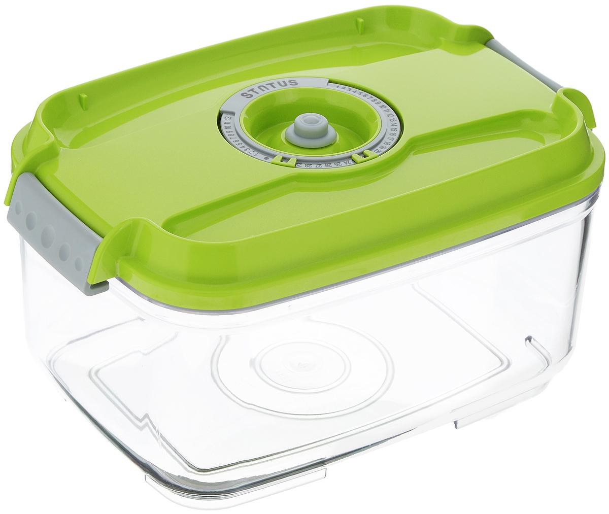 Фото - Контейнер вакуумный Status, с индикатором даты срока хранения, прозрачный, зеленый, 2 л контейнер вакуумный status цвет прозрачный зеленый 4 5 л