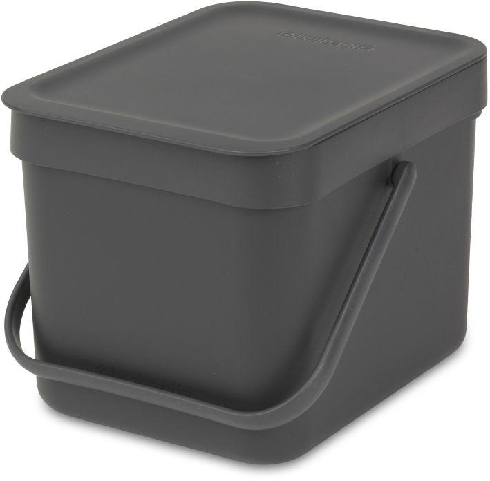 """Ведро мусорное Brabantia """"Sort & Go"""", встраиваемое, цвет: серый, 6 л. 109720"""