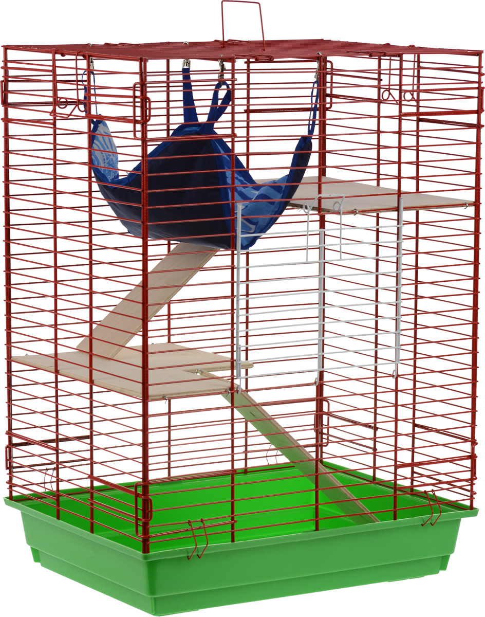 Клетка для шиншилл и хорьков ЗооМарк, цвет: зеленый поддон, красная решетка, 59 х 41 х 79 см. 725дк гамак кроватка для шиншилл и хорьков зоомарк подвесной цвет красный д 12к