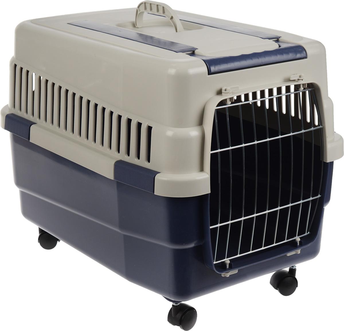 Переноска для животных IMAC Kim 60, на колесах, цвет: светло-серый, синий, 60 х 40 х 45 см переноска для животных imac linus 50х32х34 5см коралловая
