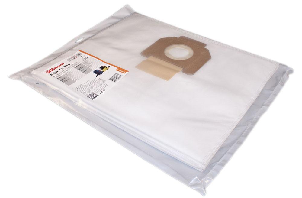 Filtero BSH 15 Pro комплект пылесборников для промышленных пылесосов, 5 шт мешок пылесборник filtero bsh 35 5 pro
