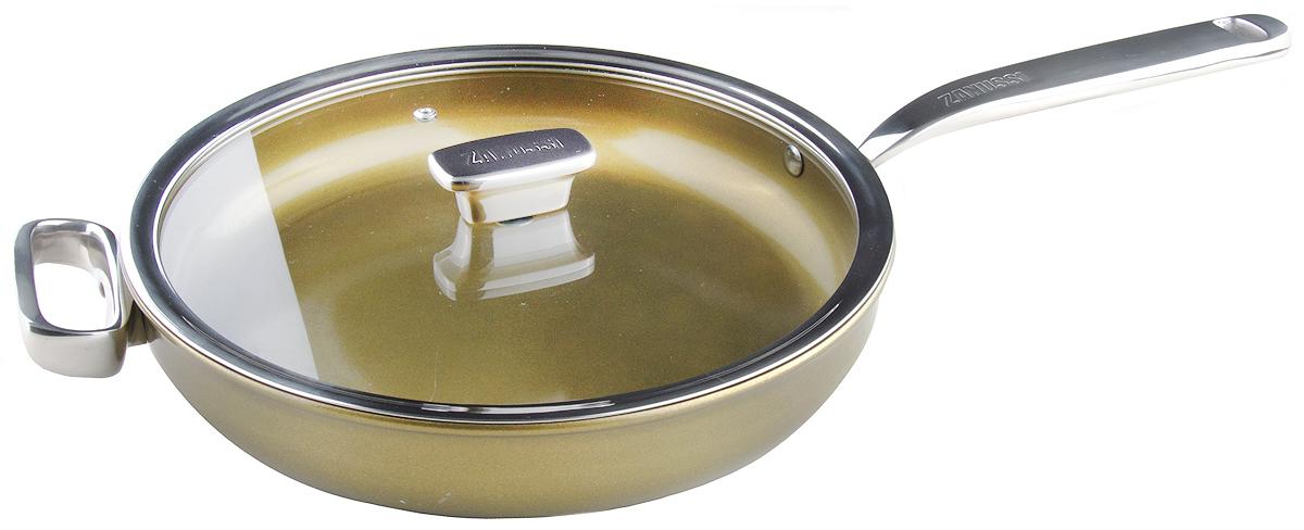 Сковорода Zanussi Capri , цвет: шампань, диаметр 28 см. ZCU51231DFZCF43411AFСковорода Zanussi Capri - глубокая сковорода подходит для всех типов плит, включая индукционные. Изготовлена из алюминия с внешним покрытием цвета золотистое шампанское. Многослойное дно. Внутреннее 2-х керамическое покрытие Greblon не содержит вредные кислоты PTFE и PFOA. Ручки выполнены из нержавеющей стали, крышка с вентиляционным отверстием, изготовлена из термостойкого качественного стекла, что позволяет просматривать процесс приготовления пищи без потери тепла. Глубокая сковорода подходит для приготовления блюд в духовке. Можно мыть в посудомоечной машине. Сковорода идеально подходит для жарки мяса и рыбы, для подрумянивания или тушения овощей. Сковорода ценится за свою универсальность. Высота борта: 7 см. Диаметр: 28 см.