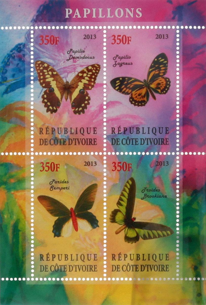 Почтовый блок в 4 марки Бабочки - 2. Кот-д'Ивуар, 2013 год блок марок бабочки кот д ивуар 2013