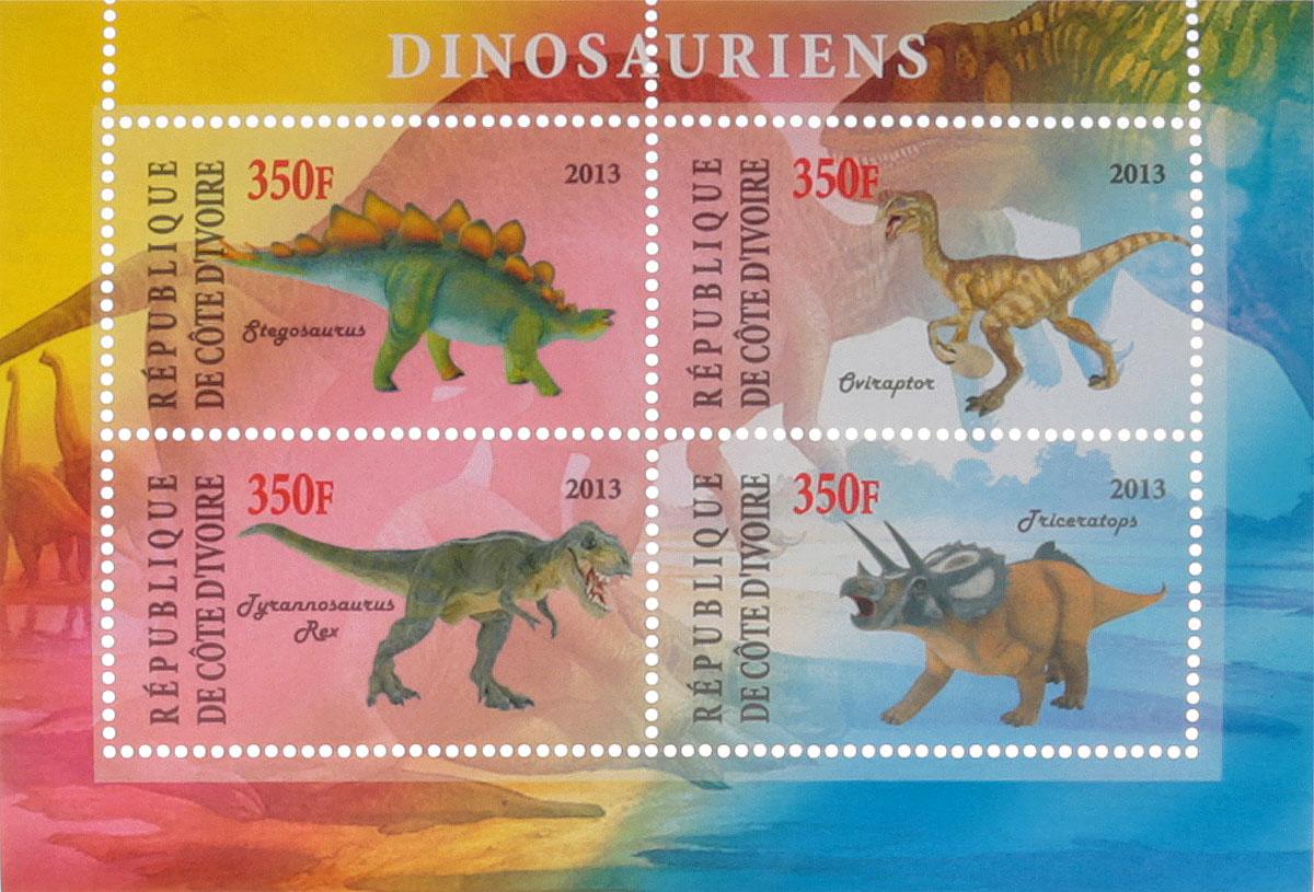 Почтовый блок в 4 марки Динозавры. Кот-д'Ивуар, 2013 год почтовый блок в 4 марки дикие африканские звери лев слон носорог ягуар джибути 2013 год